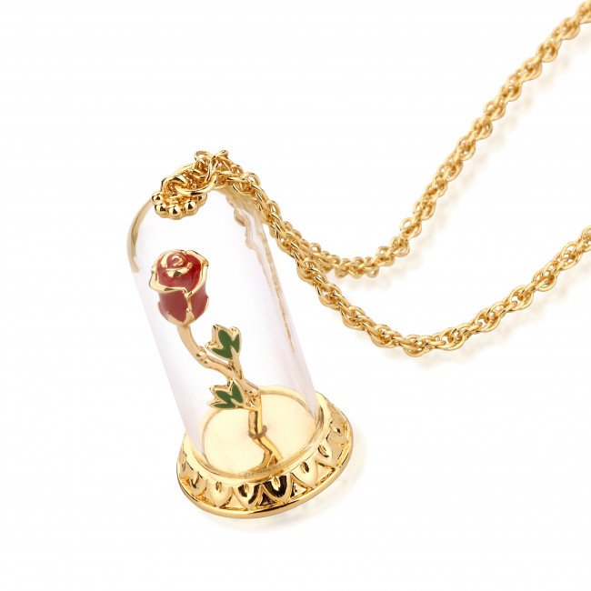 Beauty and the beast necklace enchanted rose