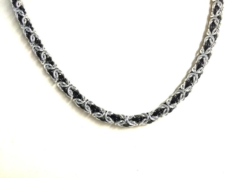 Black And Silver Chain Necklace