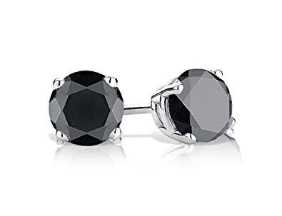 Black Diamond Earrings In Sterling Silver
