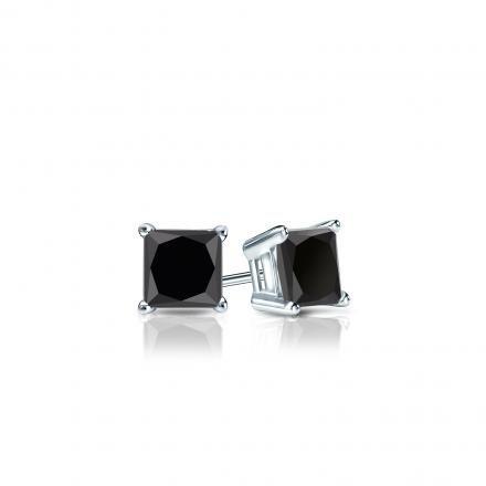 Black Diamond Earrings Princess Cut