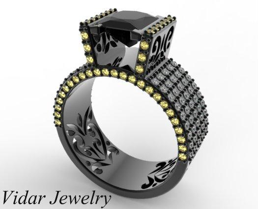 Black Diamond Ring Black Gold