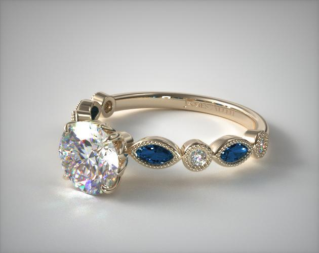 Diamond and sapphire rings yellow gold