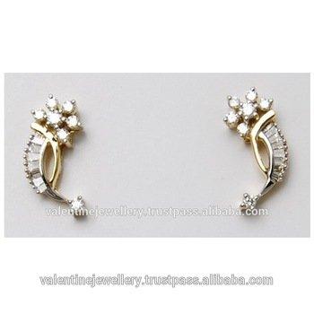 Diamond Design Of Gold Earrings