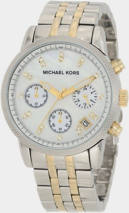 Michael Kors Watches Silver Chronograph With Stones