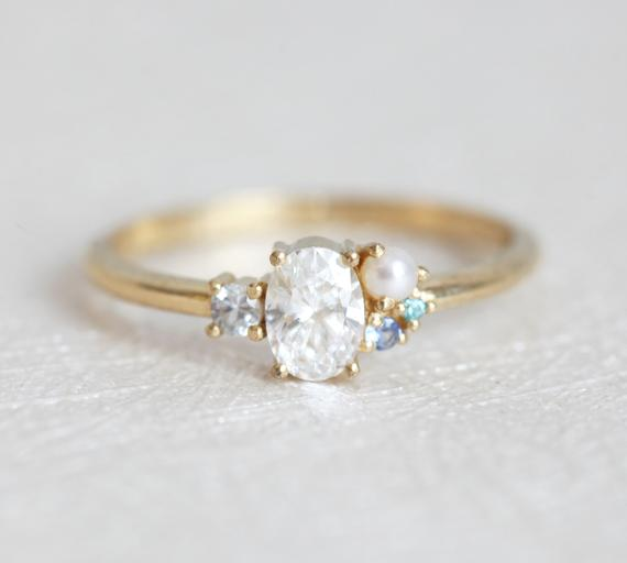 Pearl And Diamond Engagement Rings