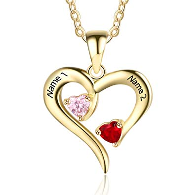 Personalized heart necklaces for couples