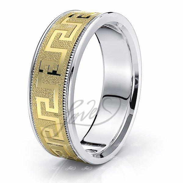 Wedding Rings Greek Key Design