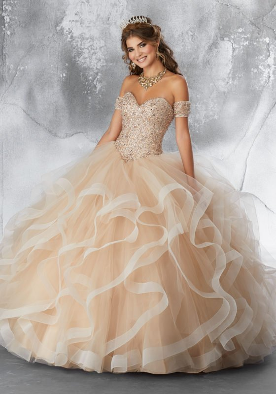 White Gold Quinceanera Dresses