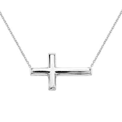White Gold Sideways Cross Necklace